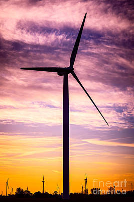 Wind Turbine Picture On Wind Farm In Indiana Print by Paul Velgos