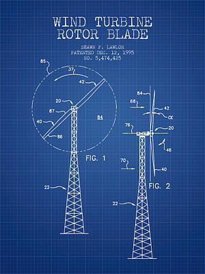 Wind Turbine Rotor Blade Patent From 1995 - Blueprint Print by Aged Pixel