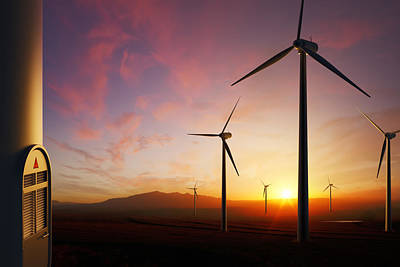 Wind Turbines At Sunset Print by Johan Swanepoel