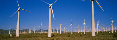 In A Row Photograph - Wind Turbines In A Field, Mojave by Panoramic Images
