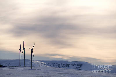 Wind Turbines In Winter Print by Bernard Jaubert