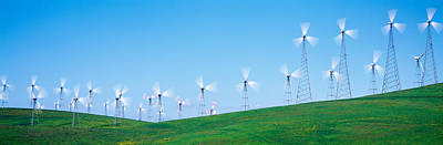 Clear Sky Photograph - Wind Turbines Spinning On Hills by Panoramic Images
