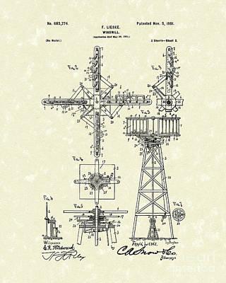 Windmill 1901 Patent Art Print by Prior Art Design