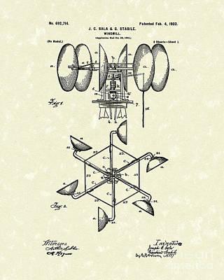 Windmill 1902 Patent Art Print by Prior Art Design