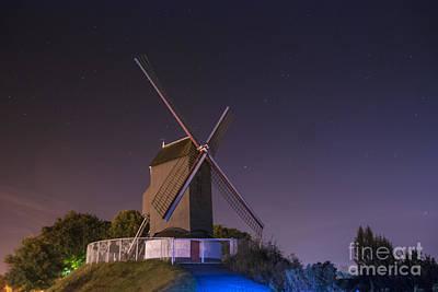Windmill At Night Print by Juli Scalzi