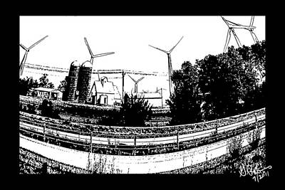 Drawing - Windmill Farm by Gerry Robins