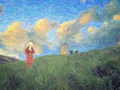Bob Ross Painting - Windmill Girl by Taylan Soyturk