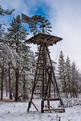 California Photograph - Windmill In The Snow by Scott Campbell