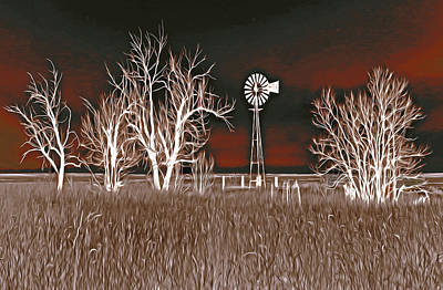 Windmill Night Fantasy Original by James Steele