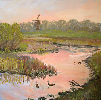 Windmill On The Waterfront Print by Art Nomad Sandra  Hansen