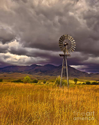 Haybales Photograph - Windmill by Robert Bales