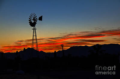 Windmill Silhouette Print by Robert Bales