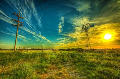 Windmill Sunset Print by  Caleb McGinn