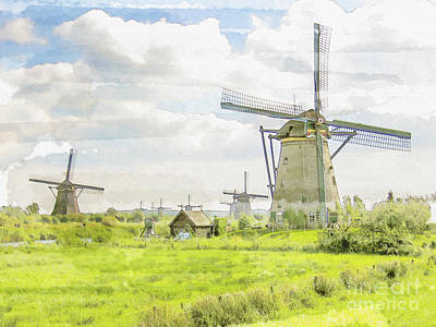 Cloudscape Digital Art - Windmills At Kinderdijk In  The Netherlands by Patricia Hofmeester