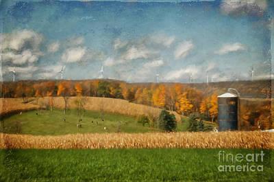 Cornfield Digital Art - Windmills On The Horizon by Lois Bryan
