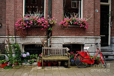 Window Bench Photograph - Window Box Bicycle And Bench  -- Amsterdam by Thomas Marchessault