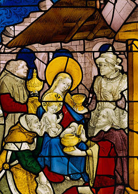 Caspar Painting - Window Depicting The Adoration Of The Kings by Flemish School