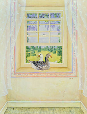 Window Sill Painting - Window Geese by Ditz