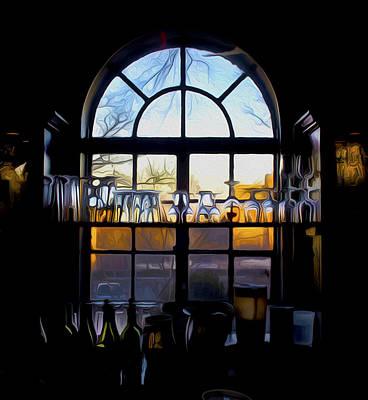 Wine Service Digital Art - Window In A Bar by Tom Kostro