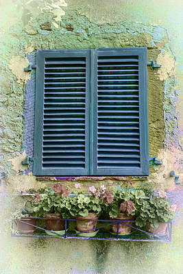 Photograph - Window In Cortona - Texture Added by Karen Stephenson