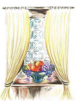 Kiwi Drawing - Window Of Fruit by Teresa White