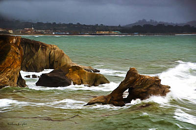 Seascape Digital Painting - Window Rock In The Fog by Barbara Snyder