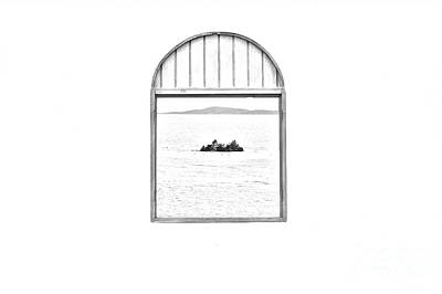 Window View Of Desert Island Puerto Rico Prints Black And White Line Art Print by Shawn O'Brien