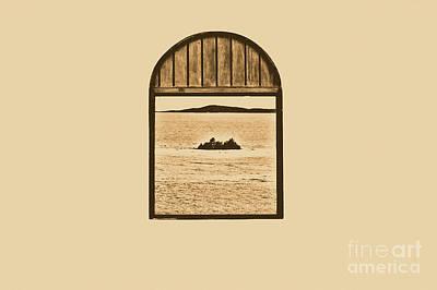 Window View Of Desert Island Puerto Rico Prints Rustic Print by Shawn O'Brien