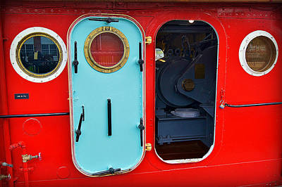 Windows And Doors On The Big Red Tug Print by Carol Toepke