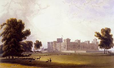 Deer Drawing - Windsor Castle From The South End by William Daniell
