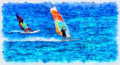 Wind Surfing Painting - Windsurfing by George Rossidis