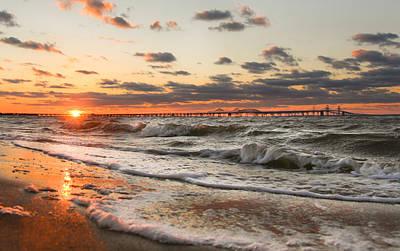 Windy Chesapeake Bay Bridge Sunset Print by Mark  Dignen