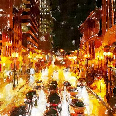 Nightlights Painting - Windy City 2 by Chris Butler