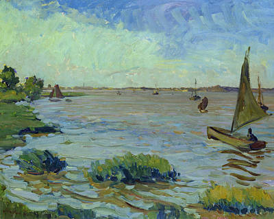 Reeds Painting - Windy Day On The Elbe by Richard Dreher