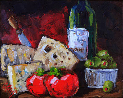 Wine And Cheeses Print by Carole Foret