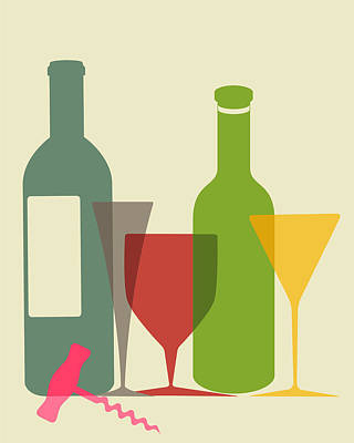 Wine And Dine Print by Ramneek Narang