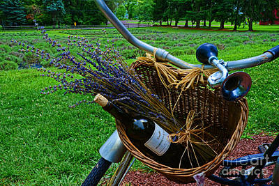 Wine Bottle Wall Art Photograph - Wine And Lavender by Paul Ward