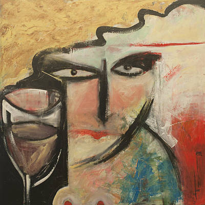 Blonde Painting - Wine And Nipples by Tim Nyberg