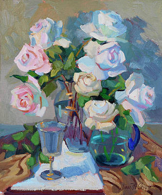Wine And Roses Print by Diane McClary