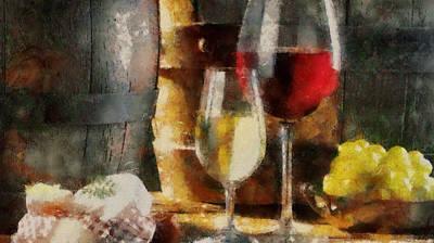 Glass Of Wine Mixed Media - Wine And Truth by Georgi Dimitrov