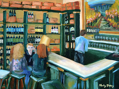 Wine Bar Rendezvous Print by Mandy Stohry