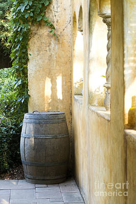 Wine Barrel At The Vineyard Print by Jon Neidert