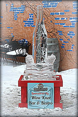 Wine Bottle Ice Sculpture Print by Kay Novy