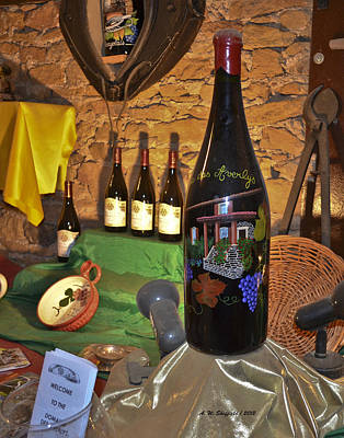 Beaujolais Photograph - Wine Bottle On Display by Allen Sheffield