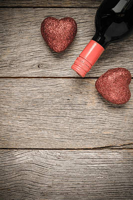 Wine Bottle With Hearts For Valentine's Day Print by Brandon Bourdages