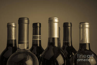Wine Bottles Print by Diane Diederich
