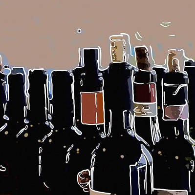 Wine Bottles In A Row  Original by Toppart Sweden