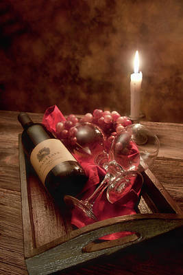 Wine Bottle Photograph - Wine By Candle Light I by Tom Mc Nemar
