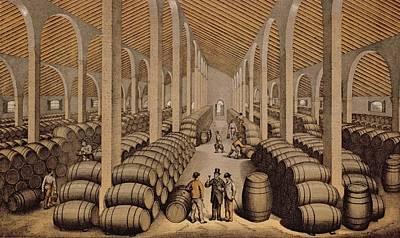 Wine Cellar At Jerez De La Frontera  Print by Spanish School