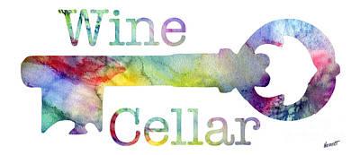 Wine Cellar Watercolor Print by Jon Neidert